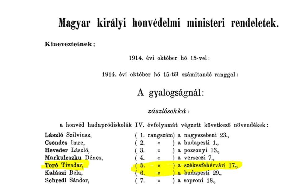 1914 kinevezés