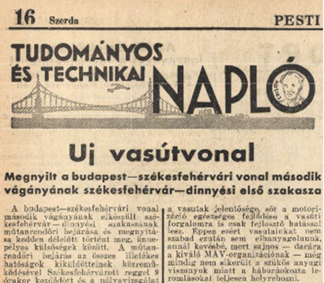 1938 Pesti Napló új vasútv