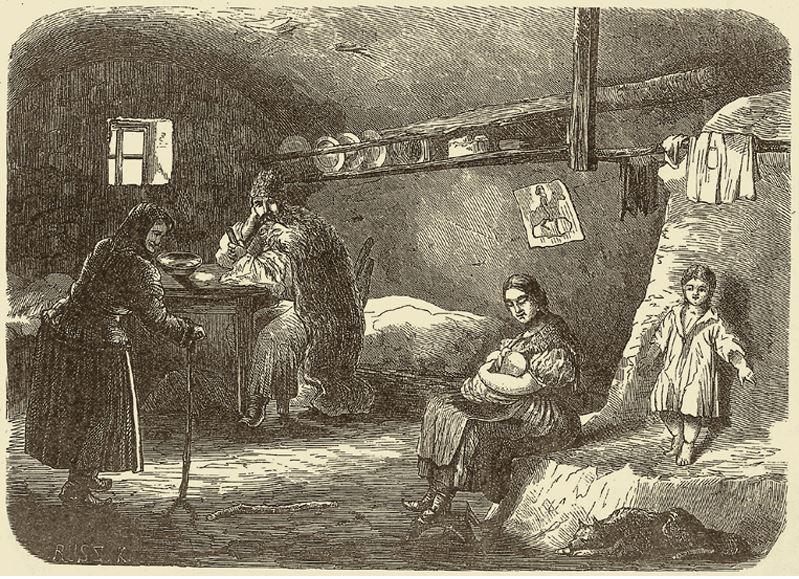 jobbágyház belseje a XIX. században