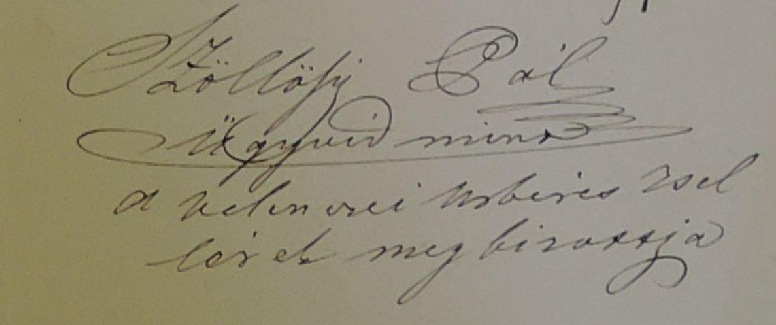 SZP aláírása az 1854 es úrb peres anyagon