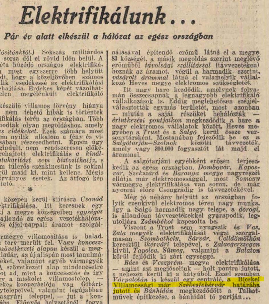 1928 cikk elektrifikálunk